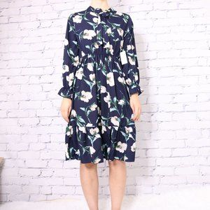 NWT floral long sleeve tie neck navy dress c1